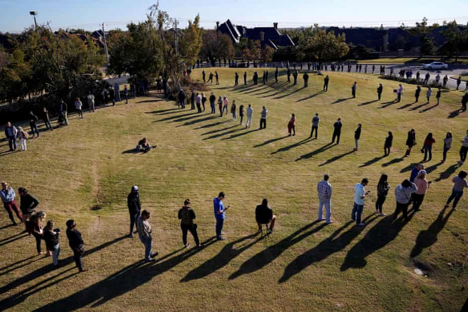Voters wait in a long line to cast their ballots at Church of the Servant in Oklahoma City, Oklahoma U.S., November 3, 2020.