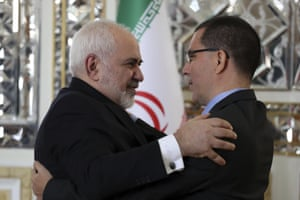 Iran's foreign minister Mohammad Javad Zarif, left, welcomes his Venezuelan counterpart Jorge Arreaza for their meeting in Tehran. Iran's top diplomat will not be attending the Davos forum, the Iranian Foreign Ministry said Monday amid frosty relations with Washington and disputes with Europe over Iran's nuclear programme
