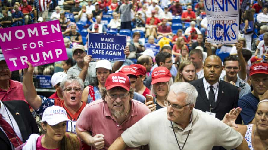 President Trump Holds Make America Great Again Rally Attendees shout at members of the media during a rally with U.S. President Donald Trump in Tampa, Florida
