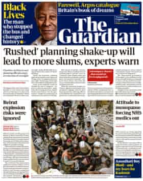 Guardian front page, Thursday 6 August 2020