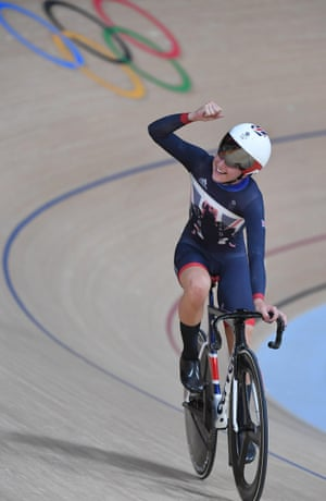 Trott celebrates after the women's omnium competition.