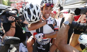 Michael Matthews  celebrates with teammates after winning the 16th stage last year