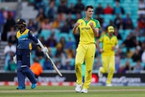 Australia's Pat Cummins celebrates taking the final Sri Lankan wicket of Nuwan Pradeep.