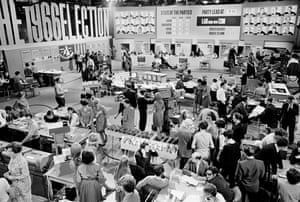 Studio 1, the hub of the election results service in 1966