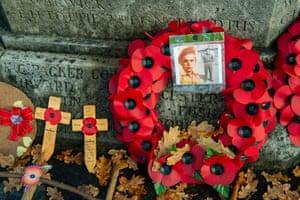 Tributes around the war memorial in Ascot in Berkshire