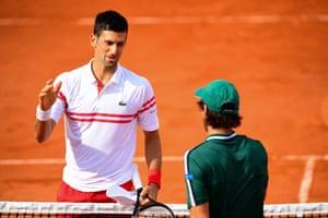 Cuevas congratulates Djokovic