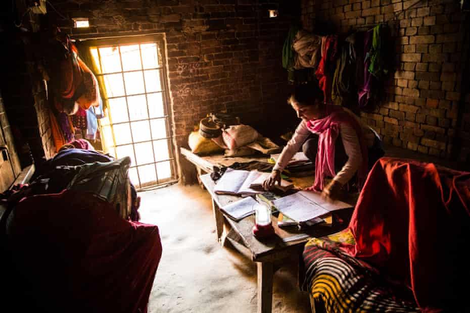 Sheskalo Pandey studies at home.