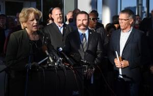 Carolyn Goodman, the mayor of Las Vegas, speaks to the media as Pastor Troy Martinez and Pastor Paul Goulet look on during a prayer vigil outside Las Vegas City Hall