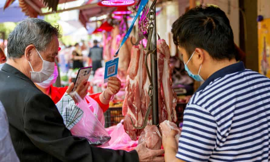 A wet market in Wuhan, China.