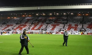 Liverpool fans hold up a mosaic spelling out the words The Truth – referencing the Sun's post-Hillsborough headline – at Anfield in 2007.
