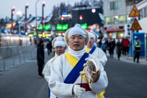 One of the more peaceful protests outside the Pyeongchang Olympic Stadium.