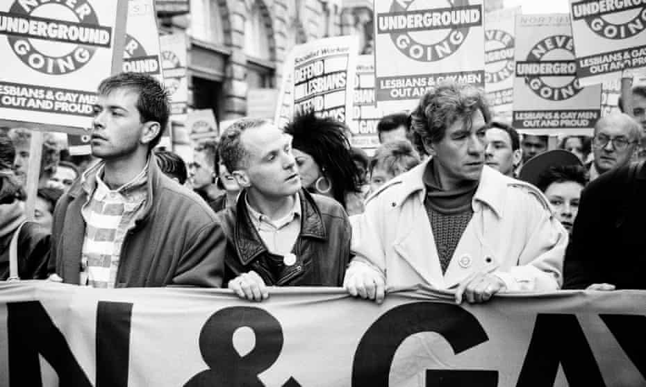 Michael Cashman (centre) with Ian McKellen at the Manchester march.