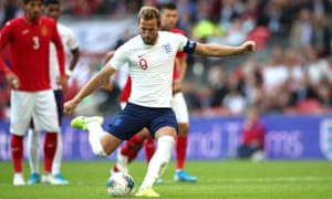 Harry Kane fires home his second penalty of the game to put England into a 4-0 lead.