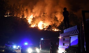 Firefighters try to extinguish a forest wildfire in Colmeal in central Portugal on 21 June