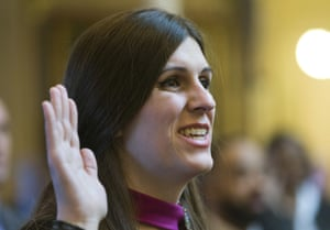 Danica Roem, he first transgender delegate, takes her oath of office during opening ceremonies of the 2018 session of the Virginia House of Delegates at the Capitol in Richmond, Va.