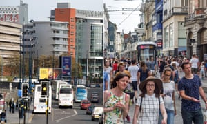 Moor Street Queensway in central Birmingham, left, and Veldstraat in central Ghent, right.