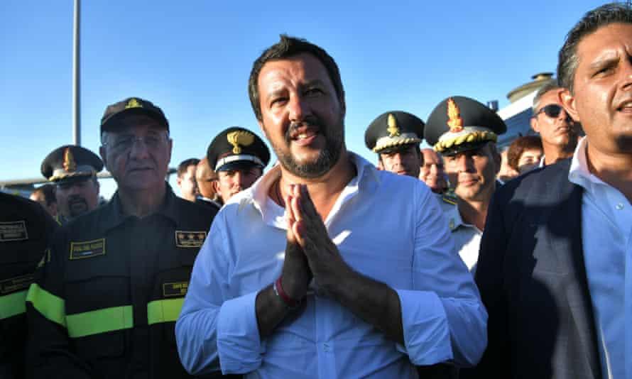 Italy's interior minister Matteo Salvini visits the scene of the Morandi bridge collapse.