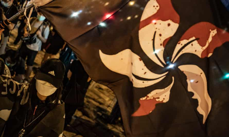 A pro-democracy activist takes part in a rally in Hong Kong to mark the anniversary of the Tiananmen Square massacre