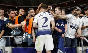 Meanwhile Kieran Trippier receives commiserations from the Spurs fans