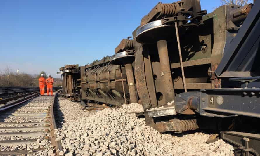 Derailed freight train in Lewisham