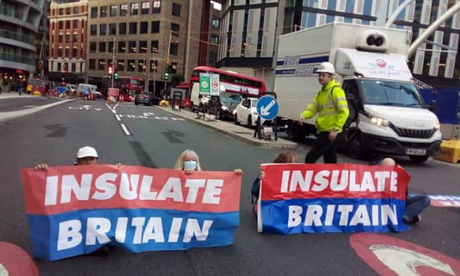 Insulate Britain protesters block Old Street roundabout in central London on Friday.