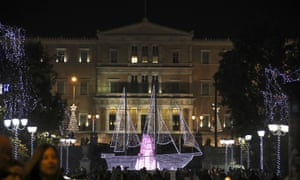 A Christmas Boat stands in front of the Greek parliament at central Syntagma square in Athens.