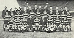 Players, including Barry John and Gareth Edwards (seated on ground right and left respectively), and staff of Cardiff rugby club ahead of the 1971-72 season.