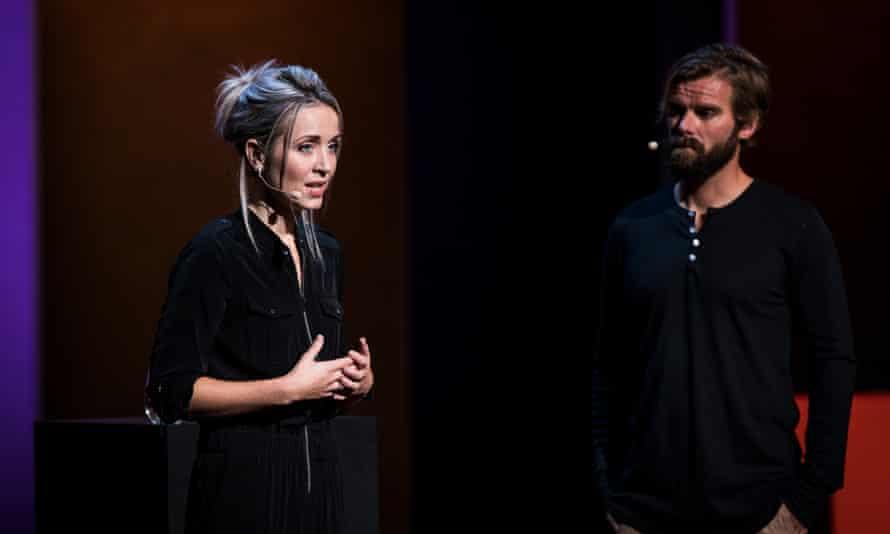 Thordis Elva and Tom Stranger speak at TEDWomen 2016 in San Francisco.
