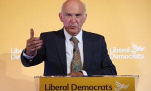 Liberal Democrat leader Sir Vince Cable gives a speech on proposals to reform the party in London on 7 September.
