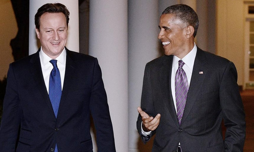 David Cameron (left) with Barack Obama at the the White House. Britain and America face the same challenge, the British prime minister said.