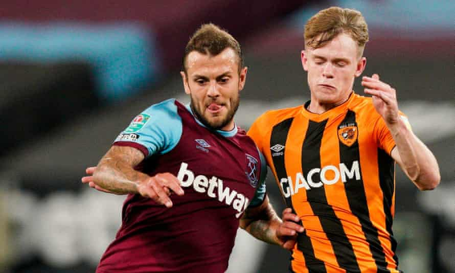 Jack Wilshere (left) in action for West Ham against Hull in the Carabao Cup on 22 September, his final game for the club and only appearance this season.