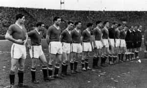 The Manchester United team line up in Belgrade before their European Cup quarter-final against Red Star Belgrade. The plane crash in Munich happened on the way home from the game.