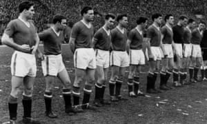 Manchester United line up at Red Star Belgrade on 5 February 1958.
