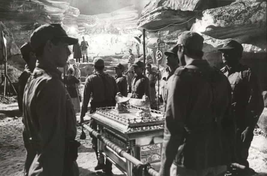 Keith Short created the winged figures on the Ark of the Covenant for the Indiana Jones film Raiders of the Lost Ark, 1981, and also built the set's rock faces from polystyrene