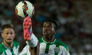 Patrick Ekeng, seen here playing for Cordoba CF in 2014, collapsed on the pitch whilst playing for Dinamo Bucherest on Friday night in a Romanian league match.