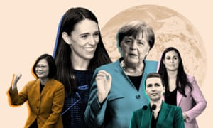 Women leaders around the globe. From left: Taiwan's president, Tsai Ing-wen; New Zealand's prime minister, Jacinda Ardern; the German chancellor, Angela Merkel; Denmark's prime minister, Mette Frederiksen, and Sanna Marin, the Finnish prime minister .