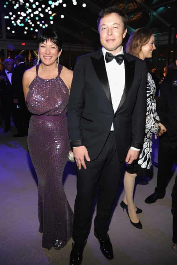 Ghislaine Maxwell and Elon Musk attend the 2014 Vanity Fair Oscar Party in West Hollywood, California.