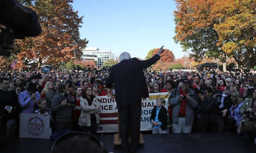 Senator Bernie Sanders speaks during a rally on Capitol Hill.