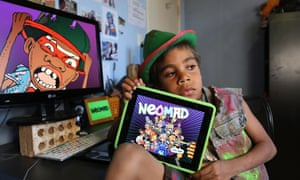 Sidney Eaton with Neomad, which has won Australia's top comic book award, the Gold Ledger