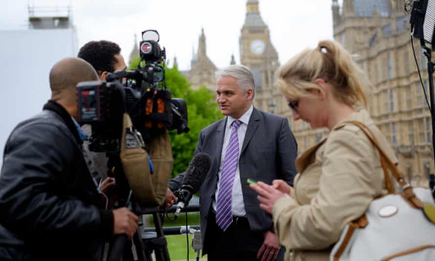 A BBC crew working on College Green in Westminster, London