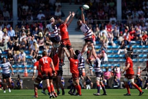 Matt Philip of the Rebels wins a line out during the Super Rugby match between Sunwolves and Rebels at the Prince Chichibu Memorial Ground in Tokyo, Japan.