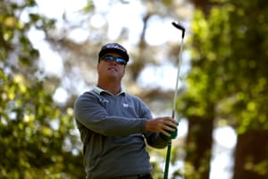 Charley Hoffman reacts after playing a tee shot.
