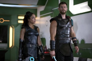 Fancy seeing you here … Tessa Thompson as Valkyrie and Chris Hemsworth as Thor in Thor: Ragnarok