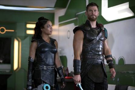 Tessa Thompson and Chris Hemsworth in Thor: Ragnarok