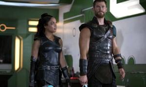 Tessa Thompson as Valkyrie and Chris Hemsworth as Thor in Thor: Ragnarok.