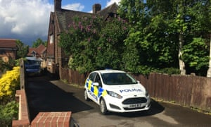 Police car is seen outside the house in Dartford where two Hatton Garden raid suspects were arrested.