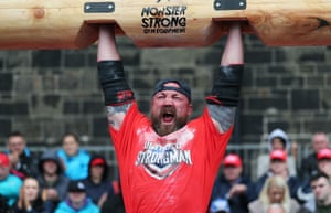 Scotland's John Pollock lifts a log
