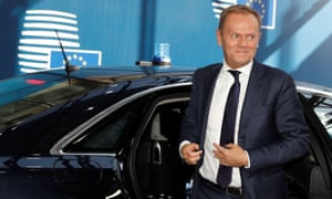 President Donald Tusk arrives at Wednesday's EU summit.