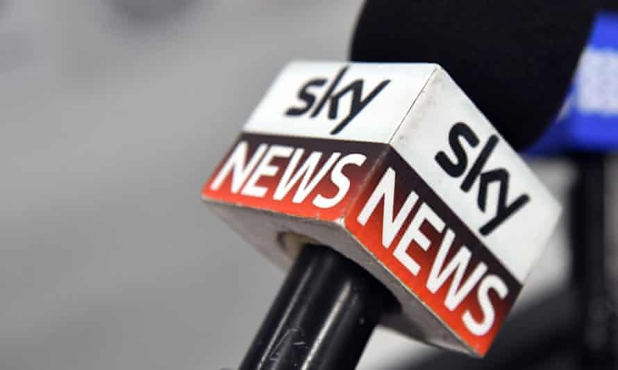 A Sky News microphone