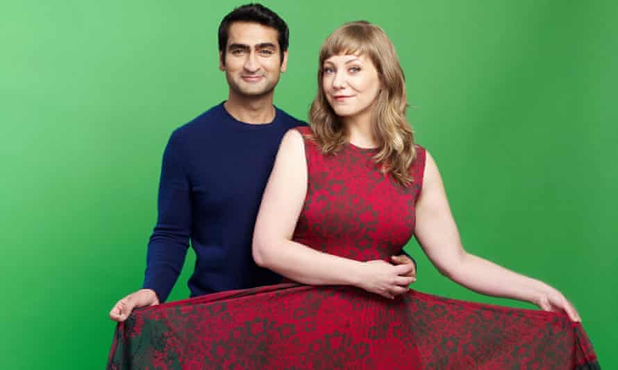 Actor and comedian Kumail Nanjiani with his wife Emily V Gordon, co-writer of their comedy film The Big Sick.